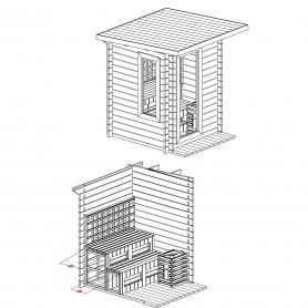 Utomhusbastu Infraröd   Sungarden Multibastu   Multibastu för 4 till 5 personerStorlek:1780x1780 x2409 mmTräslag:Finsk Gra