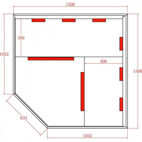 Hörnbastu Infraröd   Sunny Star Corner   Infra-bastu för 4 personerStorlek:1500 x1500x 1980 mmTräslag:CederVärmesystem:IR