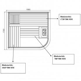 Bastu Traditionell   Wide Vision 4-5 personer   Traditionell bastuför4 till 5 personer.Storlek:1980x 1700x1900 mmTräslag