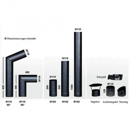 Skorstenar och rökrör till bastuugnar   Narvi Rökrör 950/1000mm