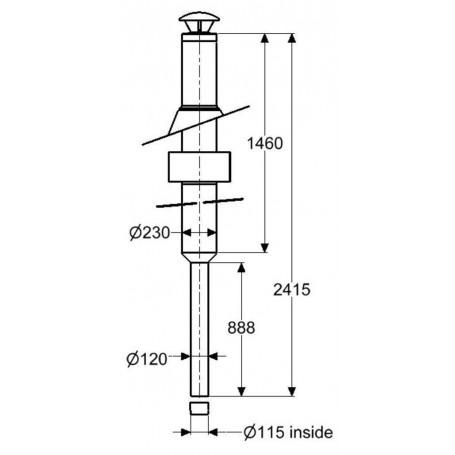 Skorstenar och rökrör till bastuugnar   Skorsten Schiedel, komplett grundsats 2.5 m