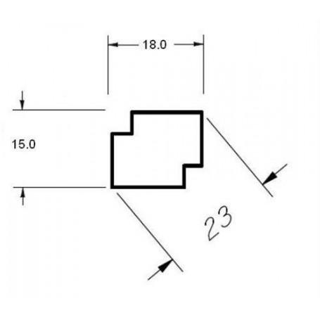 Trälister för bastu   15x18 Hörn/taklist i värmebehandlad asp. 2,4 m