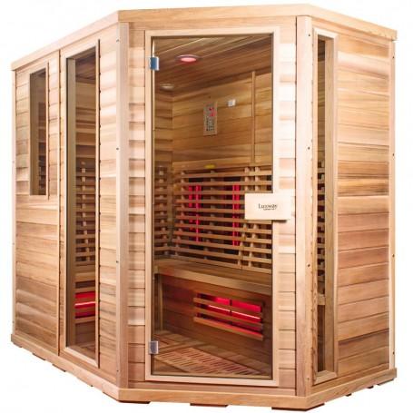 Bastu Infraröd för 5-8 pers   Sauna Relax Lux Höger cederträ   Infrabastu för5 till 6personerStorlek:2100x1400x2000 mmTr