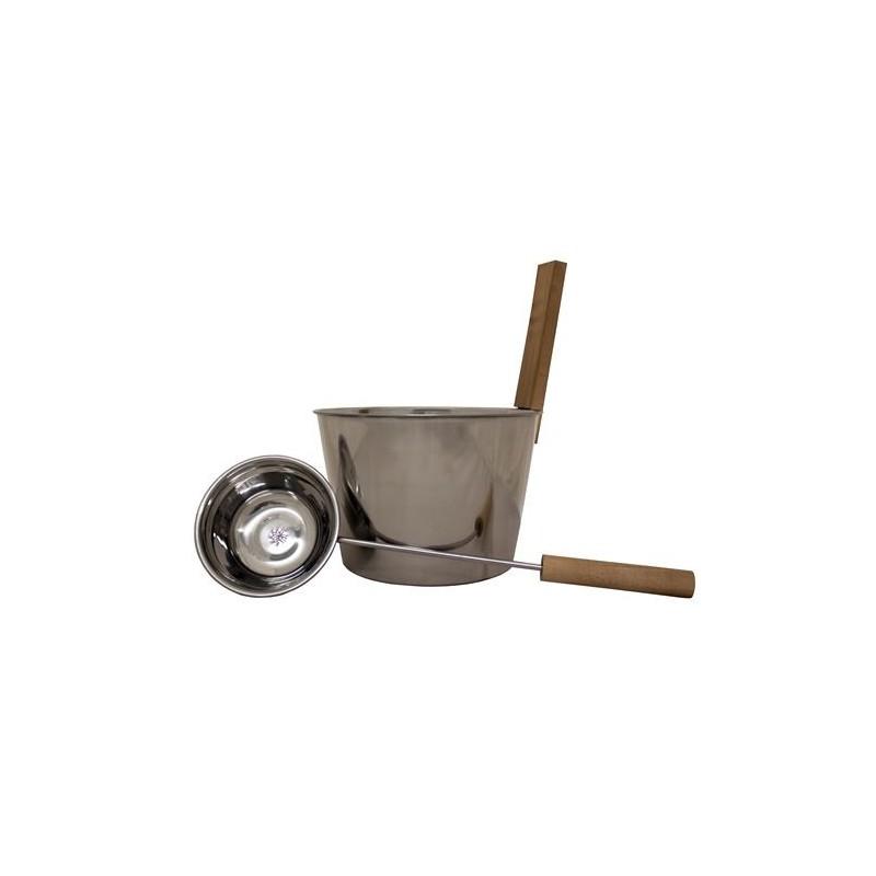 Stävor och skopor   Bastuset, skopa och stäva, rostfritt stål