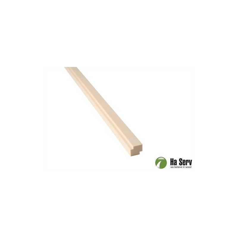 Trälister för bastu 15x18 Hörn/taklist i asp. Längd: 2,4 m