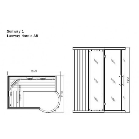 Bastu Infraröd för 3-4 pers   Sunway Höger   Infra-bastu för 3 personerStorlek:1600x1120 x 1980 mmTräslag:HemlockVärmesyste