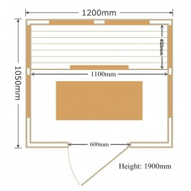 Infraröd bastu Glossy  storlek:1200 x1050 x 1900 mm