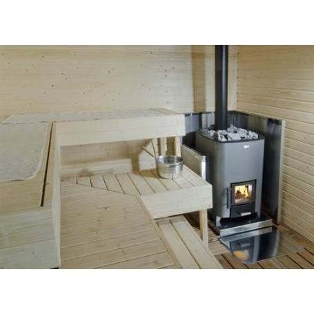 Tillbehör ved eldat bastuaggregat   Narvi Strålskyddsmantel för bastuugn, Rostfri. Höjd 1230 mm
