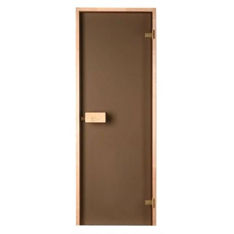 Bastudörrar storlek 7x18   Bastudörr 7x18 Classic med bronsfärgat glas och furukarm