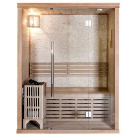 Bastu Traditionell Rocky Sauna 3 Personer Traditionell bastuför 3 personer med fondvägg.Storlek:1500x1100x1900 mmTrä