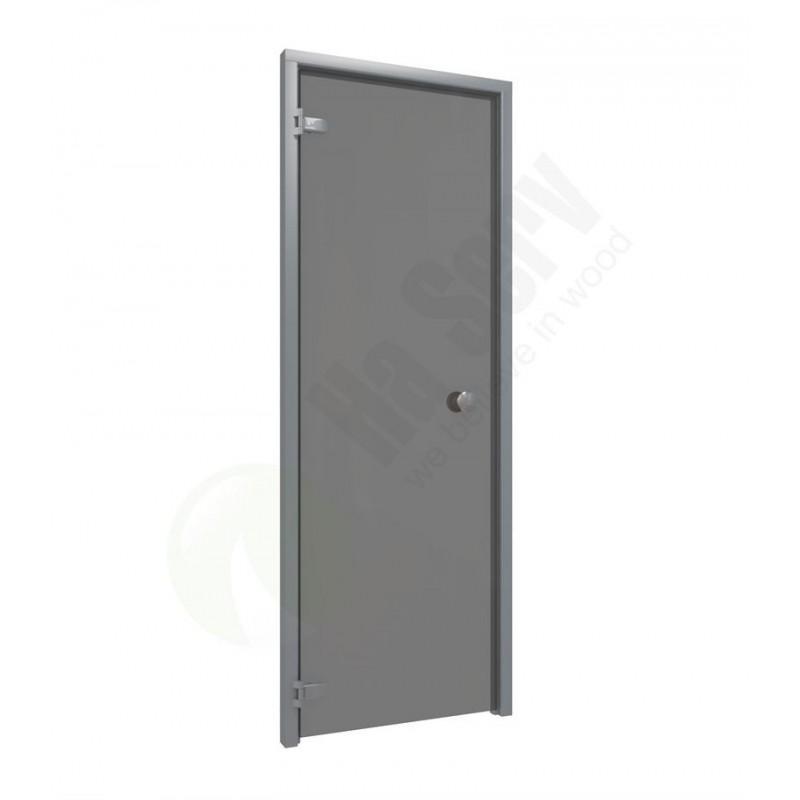 Bastudörrar storlek 7x20 Bastudörr 7x20 aluminiumkarm med grått glas Rök gråttglasKarm iAluminium