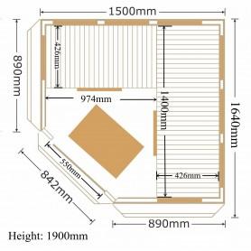Hörnbastu Infraröd   Apollon Turmalin Corner Hemlock   Infra-bastu för 4 personerStorlek:1500 x1500 x 1900 mmTräslag:Hemlock