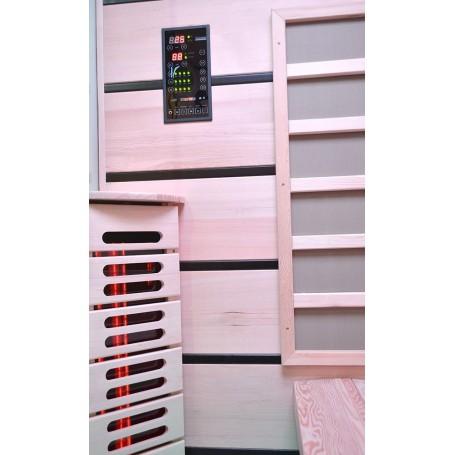 Bastu Infraröd för 3-4 pers   Select 3 personer   Infra-bastu för 3 personerStorlek:1630 x1050 x 1900 mmTräslag:HemlockVärme