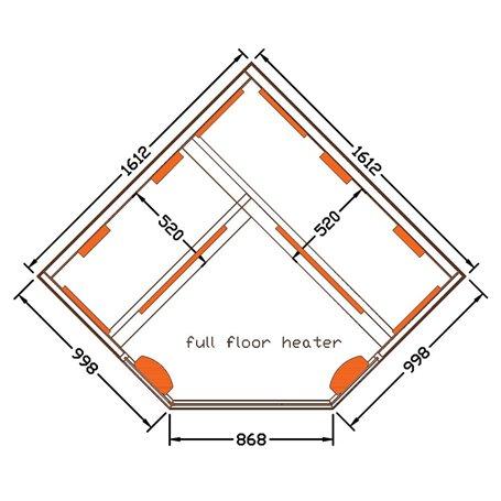 Hörnbastu Infraröd   Select Corner   Infra-bastu för 4 personerStorlek:1610x1610 x 1900 mmTräslag:Vit HemlockVärmesystem:M
