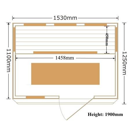 Bastu Infraröd för 3-4 pers   Apollon Turmalin 3 personer   Infra-bastu för 3 personerStorlek:1530x1100 x 1900 mmTräslag:Ce