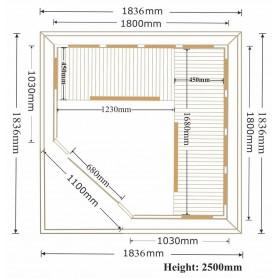 Utomhusbastu Infraröd   Bastu Eden WPC Grey   Infrabastu för 5-6 personerStorlek:1800 x 1800 x 2500 mmTräslag:Hemlock + WPC T