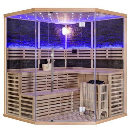 Rocky sauna  hörnbastu Med Sawo aggregat