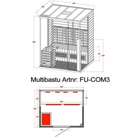 Multibastu   Multibastu 3 personer   Multibastu för 3 personerStorlek:1600x1350x 1980 mmTräslag:CederVärmesystem:IR-Vital