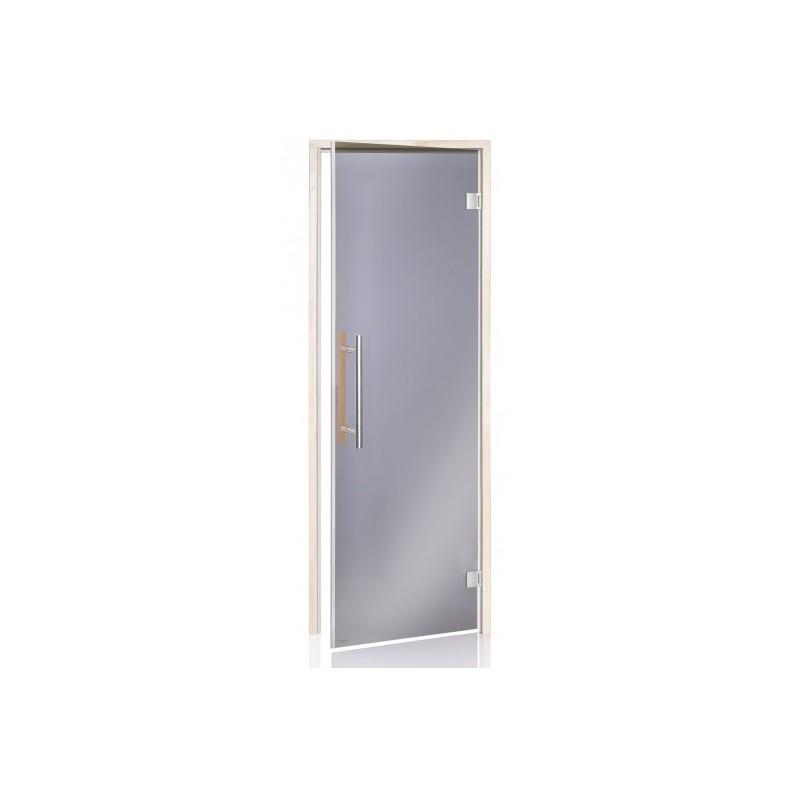 Bastudörrar storlek 7x20 Bastudörr Lux med magnetlist 7-20 Grått glas aspkarm