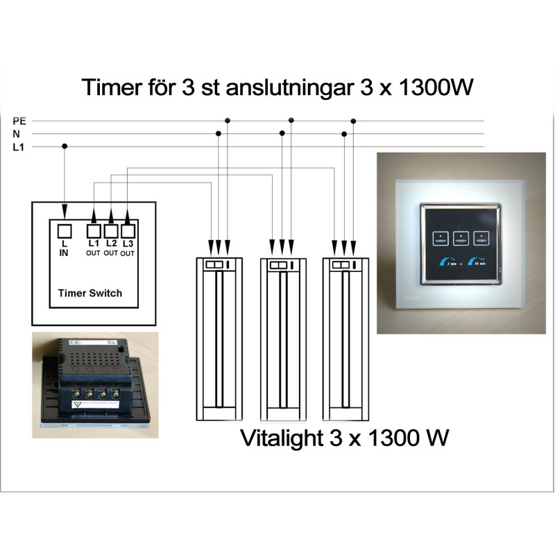 Timer switch. 2 x 1300W