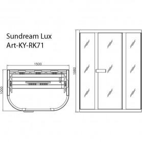 Infrabastu Lux med storlek:1500 x1000x 1980 mm