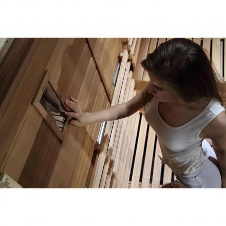 Utgående produkter   Bastu Sauna Relax Lux Hemlock   Yttermått.Längd : 2100 mmHöjd : 2000 mmBredd : 1400 mmSlutsåld:Beräknad l
