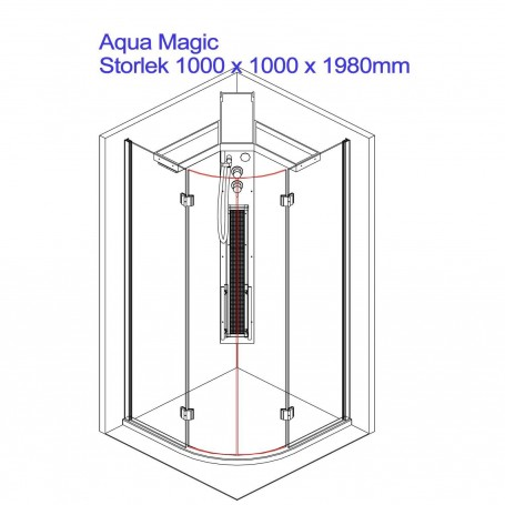 Duschkabin Infraröd   Aqua Magic dusch hörna   YttermåttLängd: 1000 mmHöjd: 1980 mmBredd: 1000mmSlutsåld!.Produkten har ut