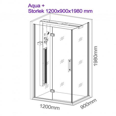 Duschkabin Infraröd   Aqua Plus  dusch hörna   Yttermått.Längd : 1200 mmHöjd : 1980 mmBredd : 900 mmUtgående vara!