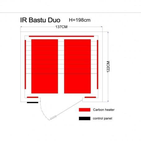 Bastu Infraröd för 2 personer   Professional Duo Ceder   Infraröd bastu för 2 personerStorlek:1370 x1220 x1980 mmTräslag:Ce