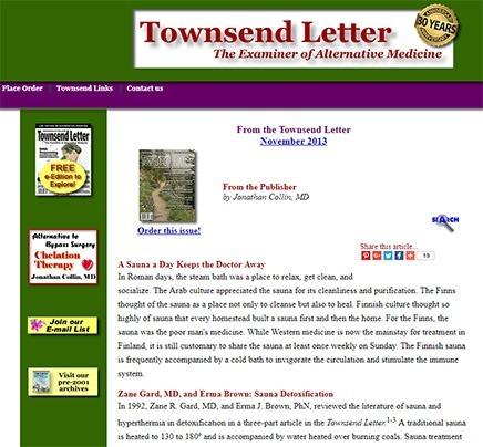 Townsend Letter infrabastu sauna